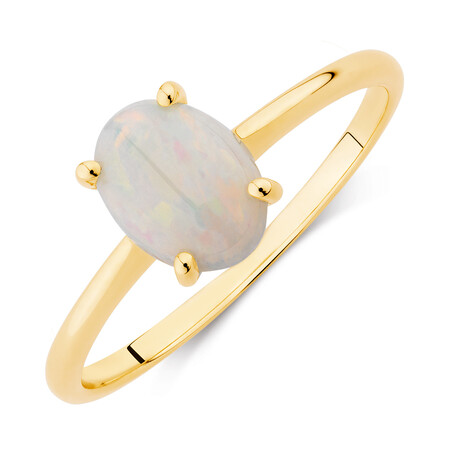 Ring with Natural White Opal in 10ct Yellow Gold