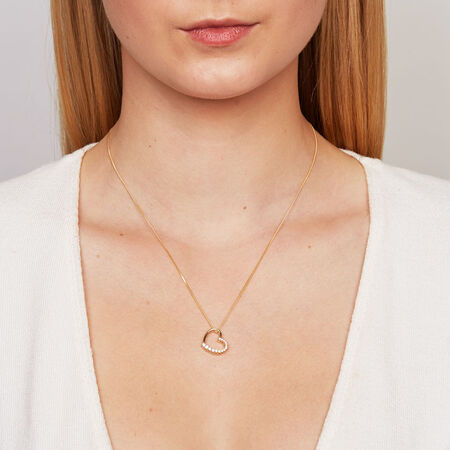 Heart Pendant with Cubic Zirconias in 10ct Yellow Gold
