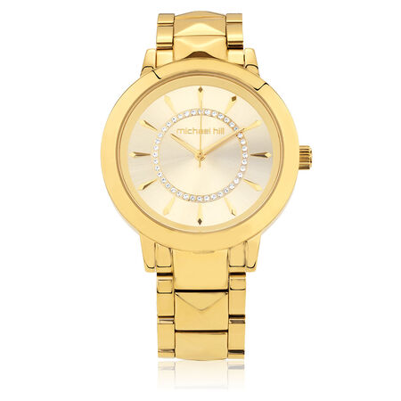 Ladies Watch with Cubic Zirconia in Gold Tone Stainless Steel