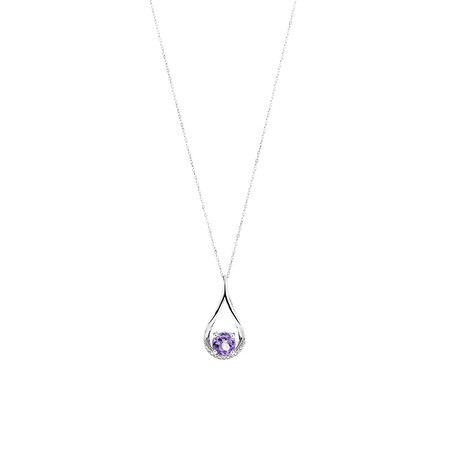 Pear Drop Pendant with Amethyst & Diamonds in 10ct White Gold