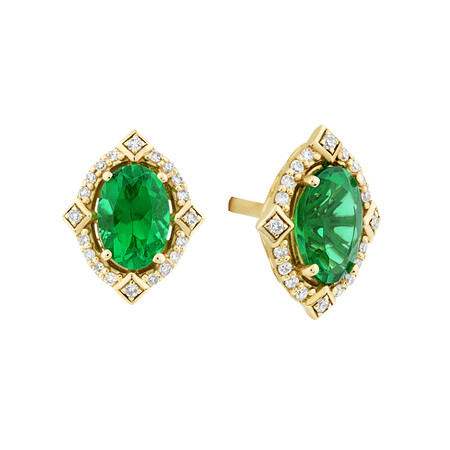Halo Earrings With Created Emerald & Diamonds in 10ct Yellow Gold
