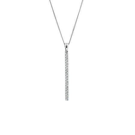 Bar Pendant with Created White Sapphire in Sterling Silver