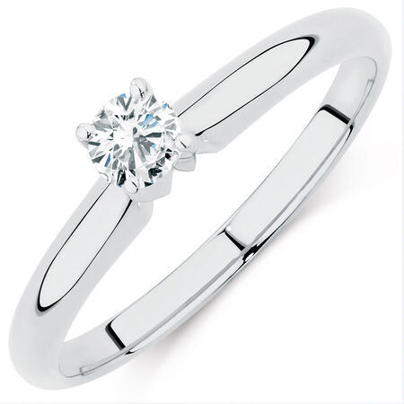 Solitaire Engagement Ring with a 0.18 Carat Diamond in 14ct White Gold