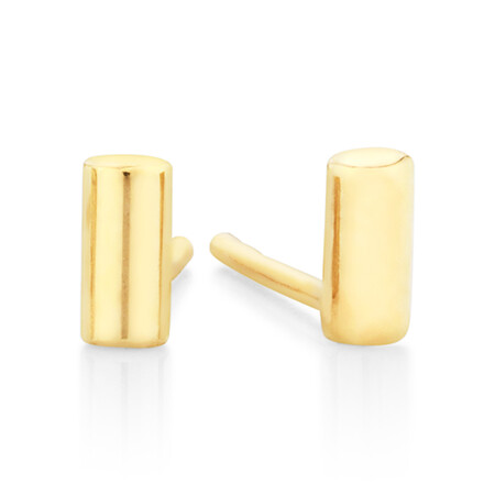 Polished Cylinder Stud Earrings in 10ct Yellow Gold