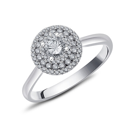 Ring with 0.59 Carat TW of Diamonds in 10ct White Gold