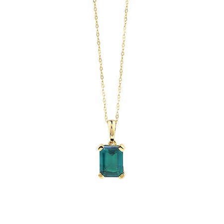 Created Emerald Pendant in 10ct Yellow Gold