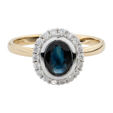 Online Exclusive - Ring with 1/4 Carat TW of Diamonds & Sapphire in 10ct Yellow & White Gold