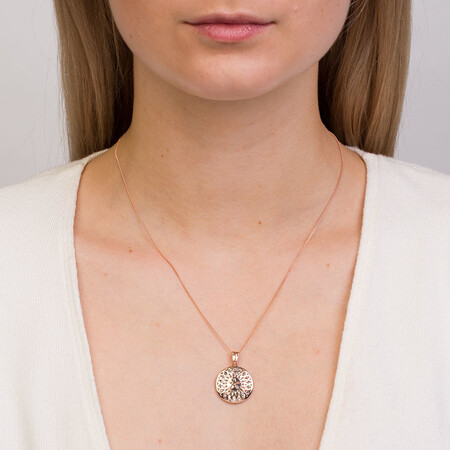 Pendant in 10ct White & Rose Gold