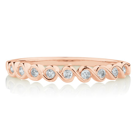Fancy Stacker Ring with 0.12 Carat TW of Diamonds in 10ct Rose Gold