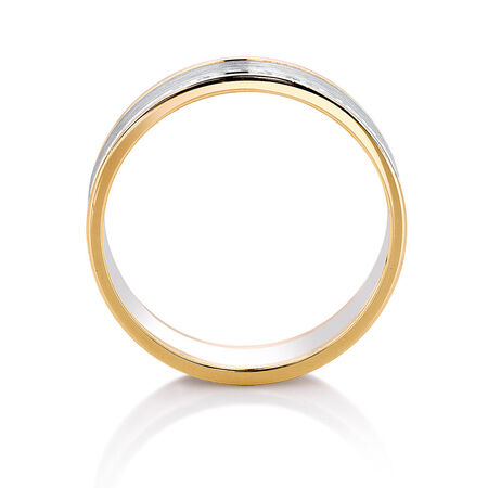 Wedding Band in 10ct Yellow & White Gold