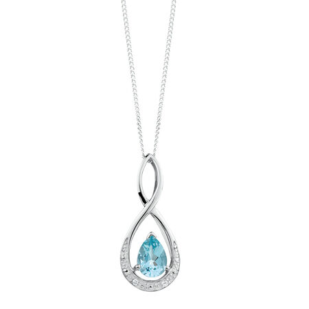 Pendant with Aquamarine & Diamonds in 10ct White Gold