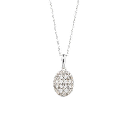 Oval Pendant with 1/4 Carat TW of Diamonds in 10ct White Gold