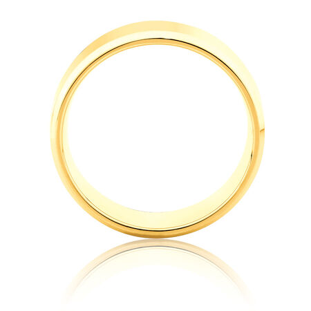 Flat Bevelled Wedding Band in 10ct Yellow Gold