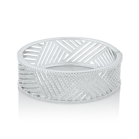 Cuff Bangle with Cubic Zirconia in Sterling Silver