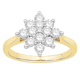 Ring with 1.00 Carat TW of Diamonds in 10ct Yellow & White Gold