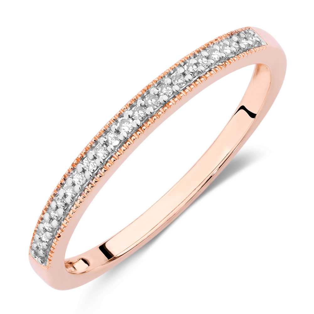 wedding band with diamonds in 10ct rose gold. Black Bedroom Furniture Sets. Home Design Ideas