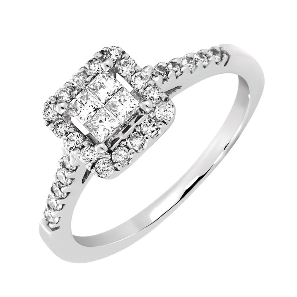 Engagement Ring With 1/2 Carat TW Of