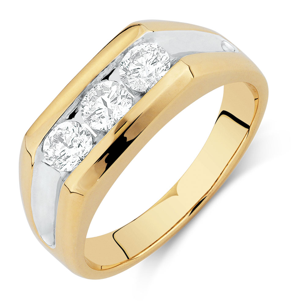 Men 39 s ring with 1 carat tw of diamonds in 10ct yellow gold for Best mens jewelry sites